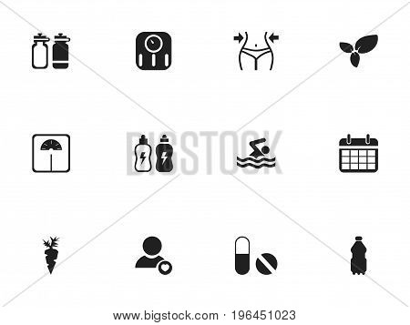 Set Of 12 Editable Sport Icons. Includes Symbols Such As Pill, Swimming, Energetic Beverage And More