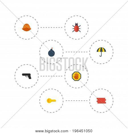 Flat Icons Virus, Forbidden, Parasol And Other Vector Elements