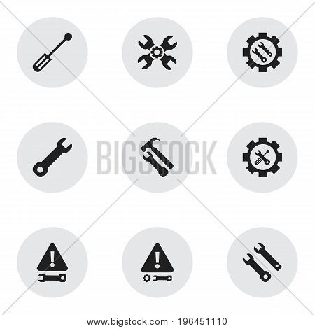 Set Of 9 Editable Service Icons. Includes Symbols Such As Service, Caution, Screwdriver Wrench And More