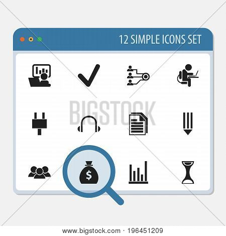Set Of 12 Editable Office Icons. Includes Symbols Such As Person Working On Computer, Control, Pencil And More