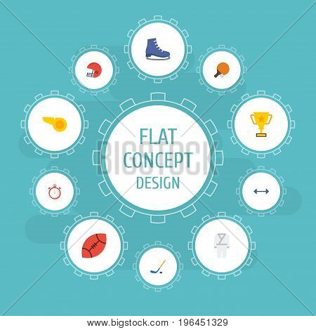 Flat Icons Trophy, Blower, American Football And Other Vector Elements