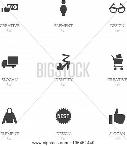 Set Of 9 Editable Shopping Icons. Includes Symbols Such As Payment, Wheelbarrow, Okay And More