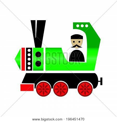 Stylized toy green train with a machinist. Vector illustration isolated on white background.