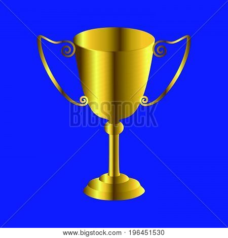 Golden trophy cup icon, winner award concept. Symbol  isolated on blue background. Illustration element for your web site design, logo, app, UI.