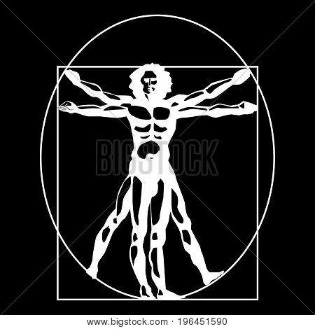 Vitruvian man  stylized symbol on a black background. Vector illustration.
