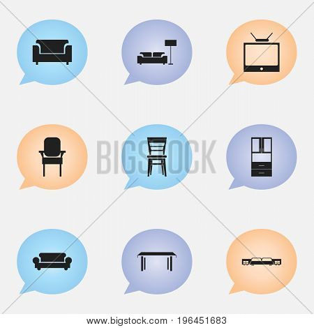 Set Of 9 Editable Interior Icons. Includes Symbols Such As Television, Canape, Mattress And More