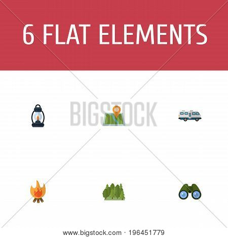 Flat Icons Zoom, Location, Fire And Other Vector Elements