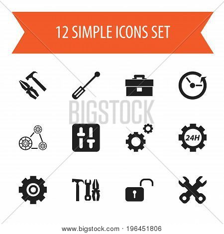 Set Of 12 Editable Mechanic Icons. Includes Symbols Such As Mechanic Cogs, Gear, Time And More