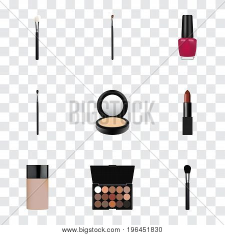 Realistic Eye Paintbrush, Powder Blush, Beauty Accessory And Other Vector Elements