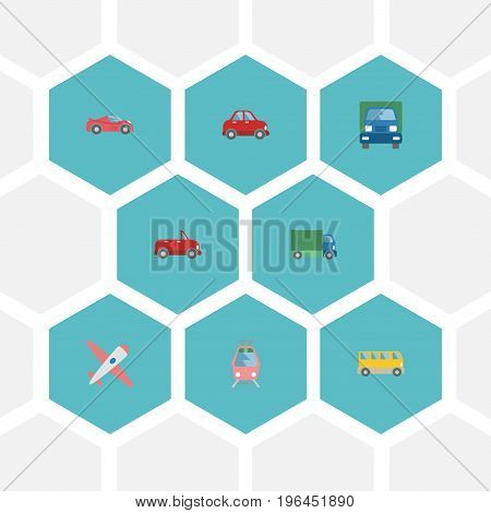 Flat Icons Luxury Auto, Streetcar, Aircraft And Other Vector Elements