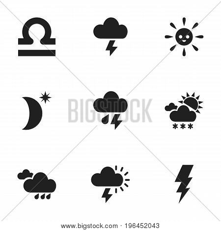 Set Of 9 Editable Weather Icons. Includes Symbols Such As Stormy, Electrical Discharge, Rainy Autumn And More