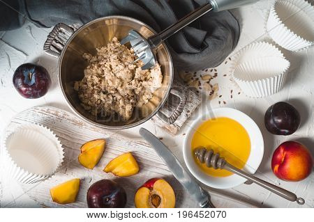 Ingredients for the preparation of tartlets from peanut butter horizontal