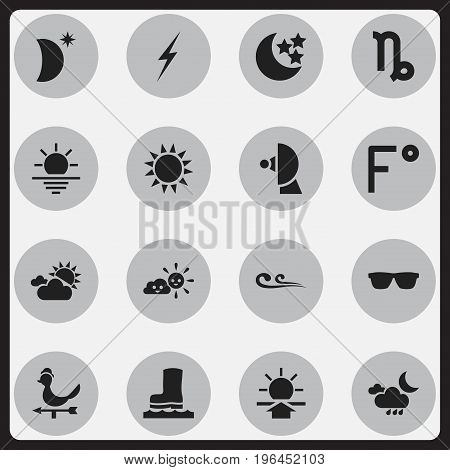 Set Of 16 Editable Weather Icons. Includes Symbols Such As Breeze, Eyeglasses, Crescent With Star And More