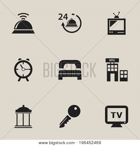 Set Of 9 Editable Plaza Icons. Includes Symbols Such As Tv, Unblock Access, Entrance And More