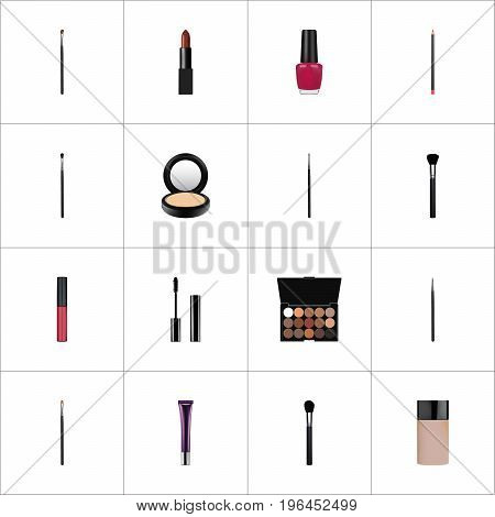 Realistic Mouth Pen, Beauty Accessory, Liquid Lipstick And Other Vector Elements