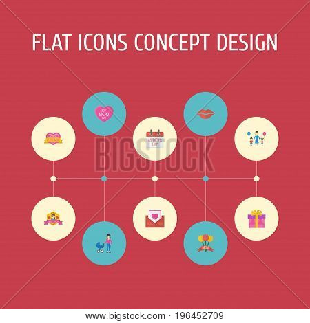 Happy Mother's Day Flat Icon Layout Design With Sticker, Best Mother Ever And Children Symbols