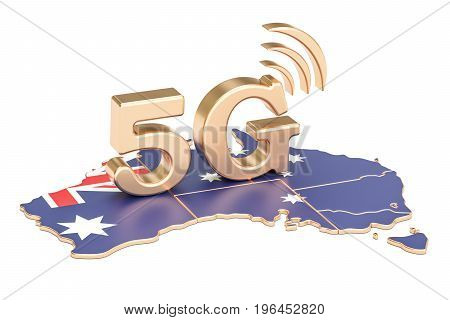5G in Australia concept 3D rendering isolated on white background