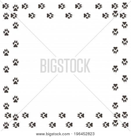 Frame with dog tracks isolated on white background. Vector illustration.