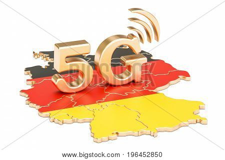 5G in Germany concept 3D rendering isolated on white background