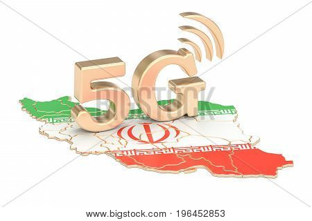 5G in Iran concept 3D rendering isolated on white background