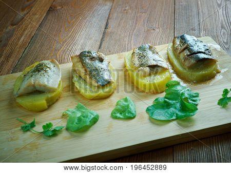 Eel With Baked Potatoes