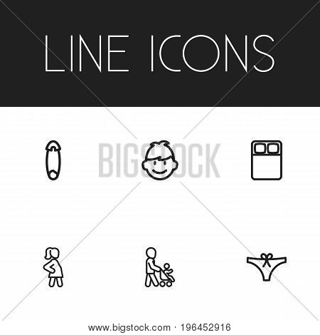 Set Of 6 Editable Relatives Outline Icons. Includes Symbols Such As Grandson, Fasten, Son