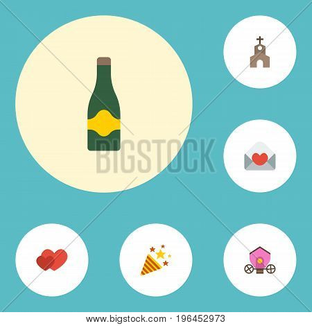 Flat Icons Fizz, Card, Chariot And Other Vector Elements