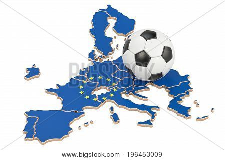 Football ball with map of EU concept 3D rendering