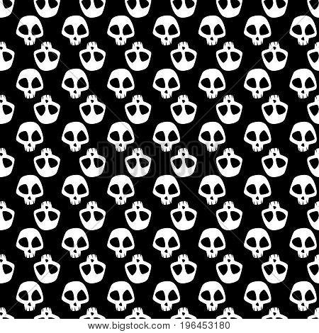 Seamless pattern with cartoon skulls on black background. Vector illustration.
