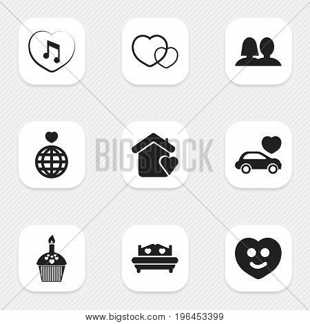 Set Of 9 Editable Passion Icons. Includes Symbols Such As Mattress, Decoration, Muffin And More