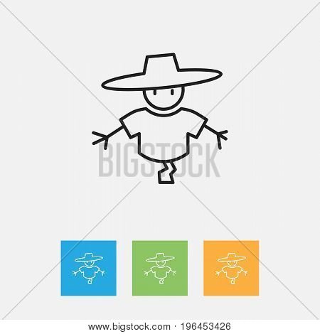 Vector Illustration Of Air Symbol On Scarecrow Outline