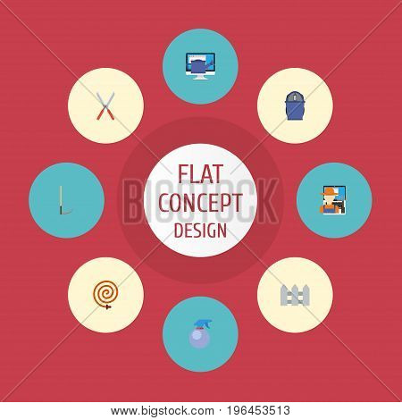 Flat Icons Grower, Garden Hose, Bucket And Other Vector Elements