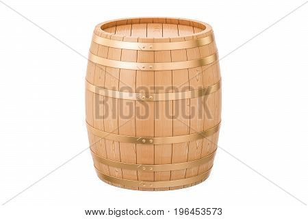 Wooden barrel 3D rendering isolated on white background