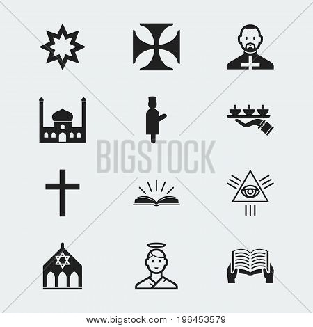 Set Of 12 Editable Dyne Icons. Includes Symbols Such As Scripture, Masonic, Temple And More