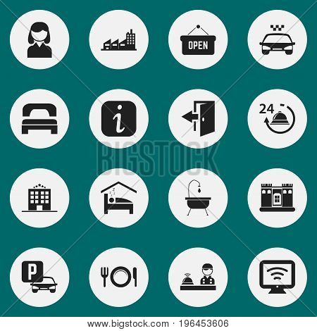 Set Of 16 Editable Travel Icons. Includes Symbols Such As Information Sign, Female, Dishes And More