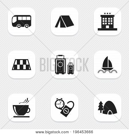 Set Of 9 Editable Holiday Icons. Includes Symbols Such As Luggage, Tabernacle, Rest Time And More