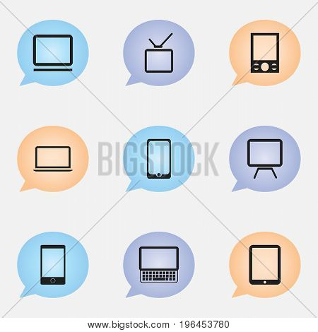Set Of 9 Editable Devices Icons. Includes Symbols Such As Telephone, Clavier, Music Phone And More