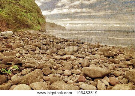 Stones beach on the Big Island. Hawaii. USA