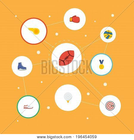 Flat Icons Ice Boot, Blower, Reward And Other Vector Elements