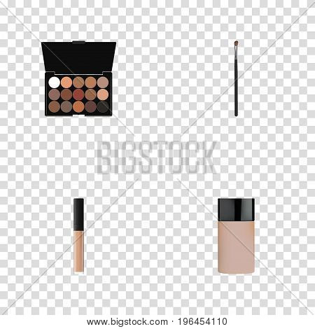 Realistic Multicolored Palette, Eye Paintbrush, Concealer And Other Vector Elements