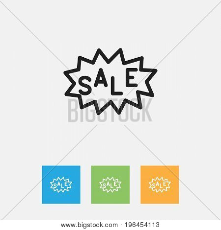 Vector Illustration Of Shopping Symbol On Discount Tag Outline