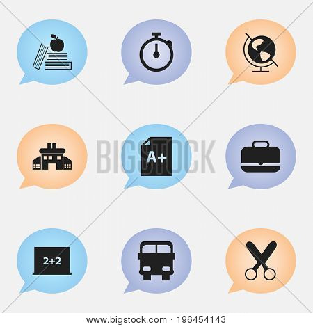 Set Of 9 Editable School Icons. Includes Symbols Such As Timer, Transport Vehicle, Page And More