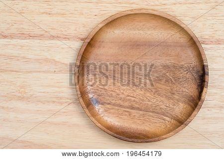 Top View Wooden Tray On Wooden Table.