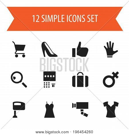 Set Of 12 Editable Shopping Icons. Includes Symbols Such As Attache Case, Fingers, Okay And More