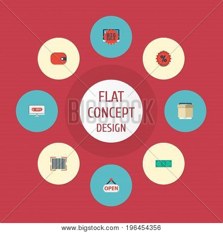 Flat Icons Sign, Percentage, Big Sale And Other Vector Elements