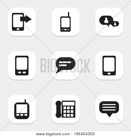 Set Of 9 Editable Phone Icons. Includes Symbols Such As Chatting, Share Display, Transceiver And More