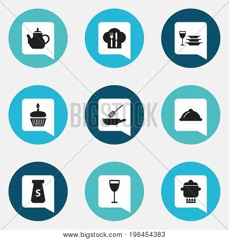 Set Of 9 Editable Restaurant Icons. Includes Symbols Such As Muffin, Teapot, Goblet And More