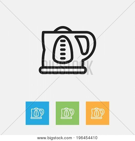 Vector Illustration Of Shopping Symbol On Electric Teapot Outline