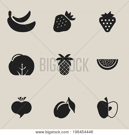 Set Of 9 Editable Berry Icons. Includes Symbols Such As Cauliflower, Berry, Strawberry And More