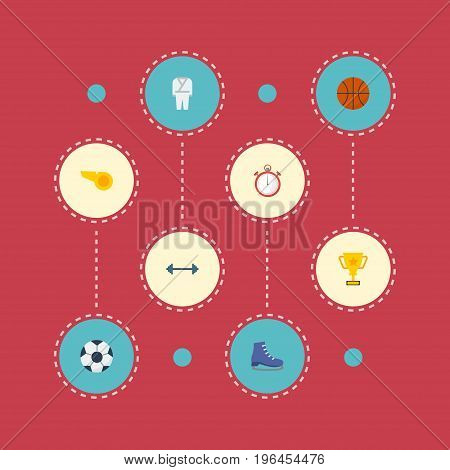 Flat Icons Second Meter, Ball, Ice Boot And Other Vector Elements